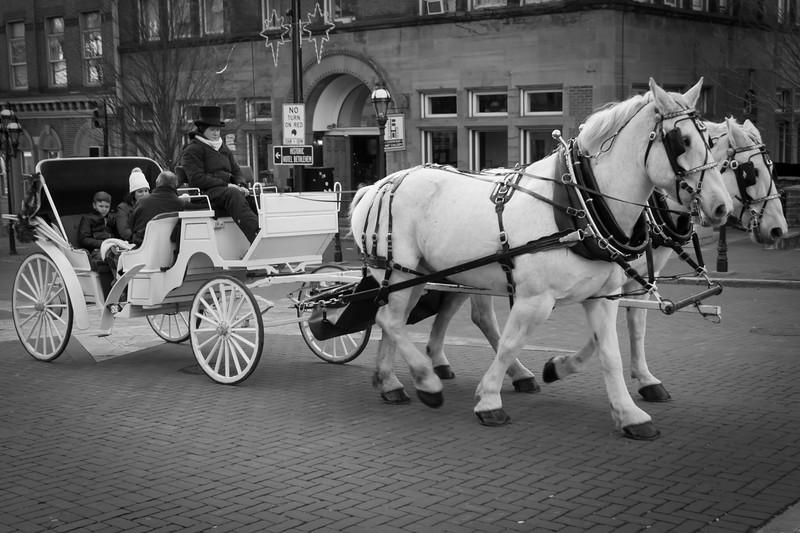 Horse-drawn carriage on Main Street in Bethlehem, Pennsylvania.