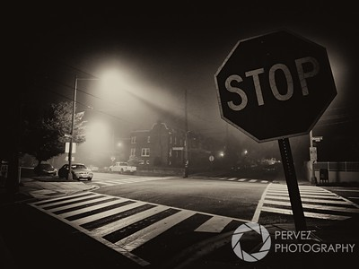 Foggy night in Petworth neighborhood in Washington, DC.