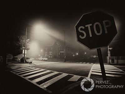 Foggy night in Petworth neighborhood in Washington, DC.