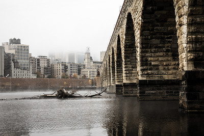 Misty Morning in Minneapolis (3 of 3) - The Mill city ruins are all that's visible as the fog engulfs the skyscrapers of the modern skyline.