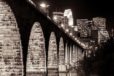 Ancient Bridge, Modern Skyline - Sepia