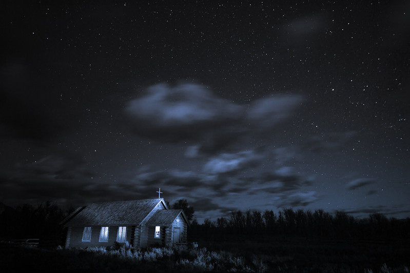 Church of the Transfiguration at night, Grand Teton National Park