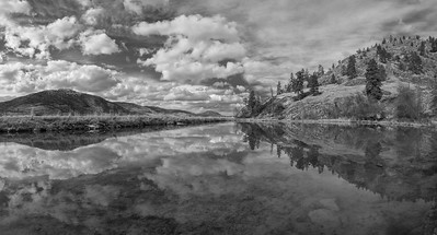 Skaha Pond Sunny Day Panoramic BW