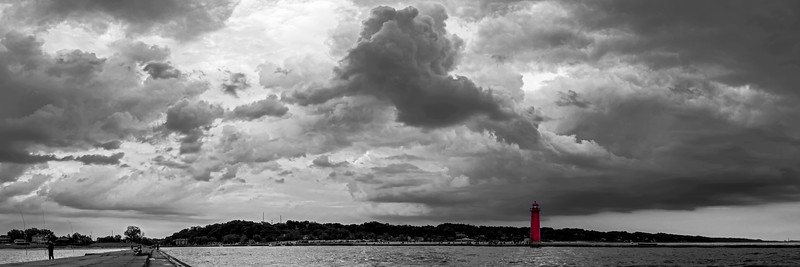 Big Skies Over Grand Haven Black and White Panorama