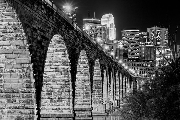 Ancient Bridge, Modern Skyline - Classic B&W