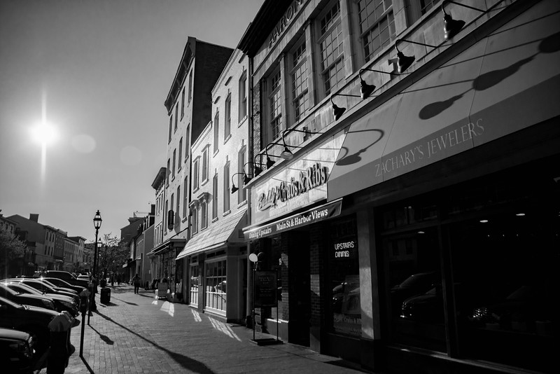 Businesses on Main Street in Annapolis, Maryland.