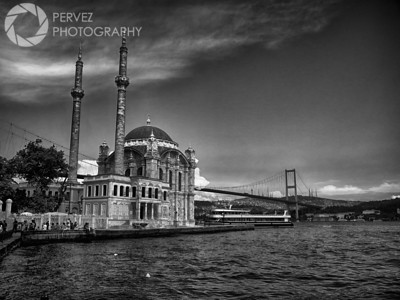 Ortakoy Mosque, with the Bosphorus Bridge in the back, in Istanbul