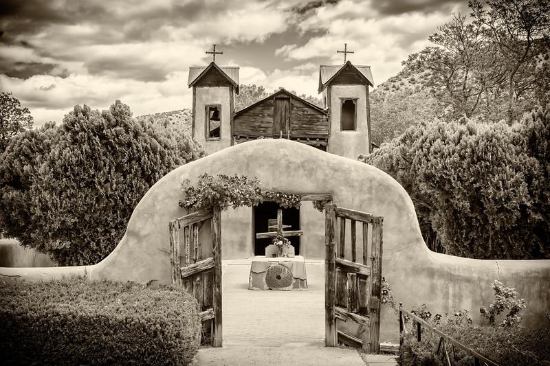 The pilgrimage site of El Santuario de Chimayo, a National Historic Landmark in Chimayo, New Mexico