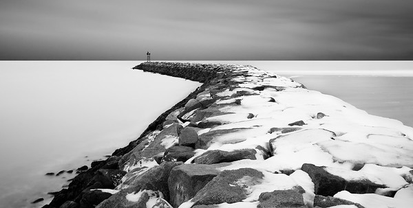 Long Exposure 2:1 format shot of the Wells Beach Breakwater.