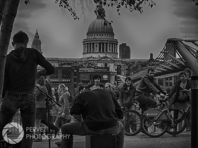 Street musicians playing across from St. Paul's Cathedral in London