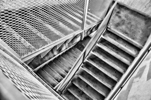 Jan 28 - Steps<br /> <br /> I love the patterns in this staircase taken in a parking garage as well as the texture mixes of the steel and concrete.<br /> <br /> Thank you for your comments on my Whitetail Deer European Mount image I posted yesterday.