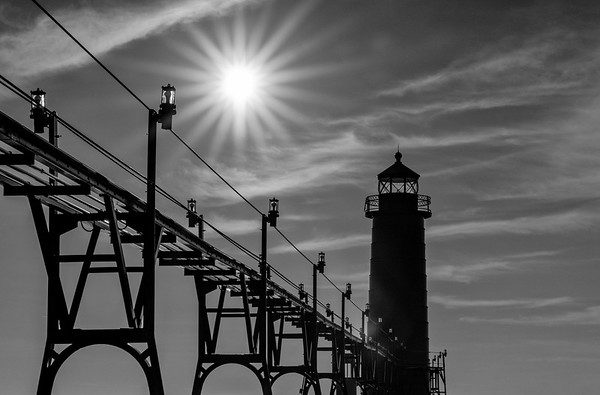 Black and White Sunburst Over Grand Haven