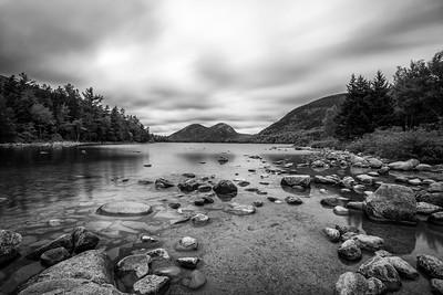 Jordan Pond in Acadia National Park Black and White