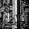 Old buildings and fire escapes in New York City.