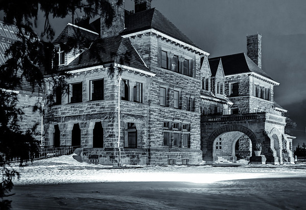 The James J Hill Mansion on Summit Avenue in St. Paul captured on a cold winter evening - and rendered in high contrast black and white.