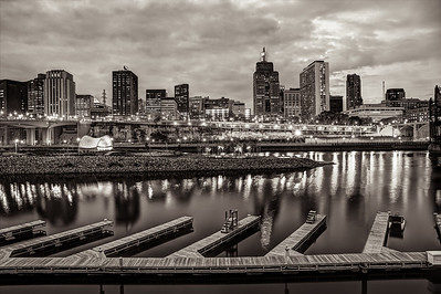 Plenty of Parking Available in Black and White - The Mississippi had yet to freeze in this November 2012 image, but all the boats have been put away for the season at the Harriet Island docks in front of the beautiful twilight skyline of downtown Saint Paul.