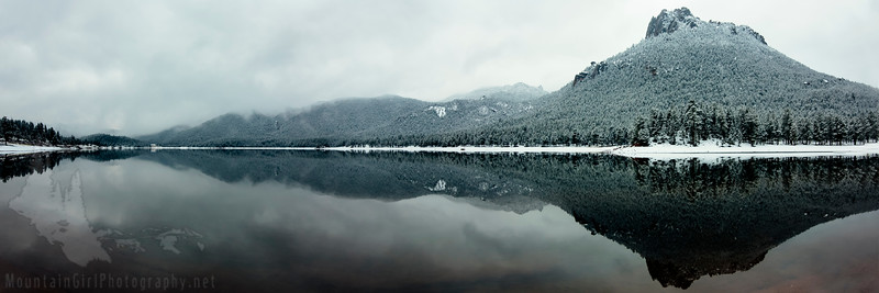 Wellington Lake Fog Panorama