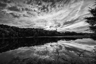 Black and White of the Big Bone Lake Sunset