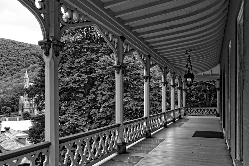 Front porch of the Asa Packer mansion in Jim Thorpe, Pennsylvania.