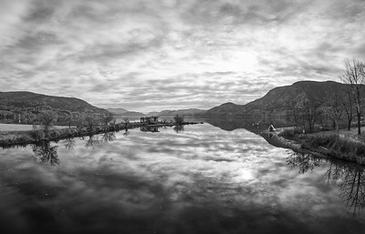Skaha Fall Reflections Panoramic BW 2019
