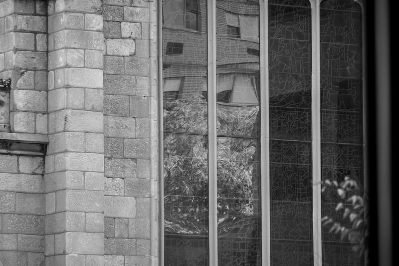 Church window Reflections on Ninth Avenue