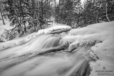 Hatchery Falls on the Skeleton River in winter, Rosseau, Ontario, Canada