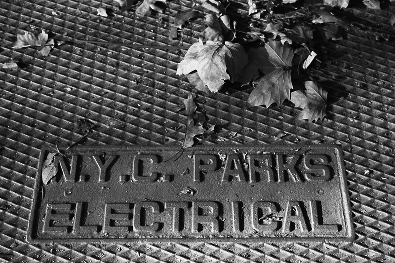 NYC Parks Electrical sign, Greenwich Village, New York City