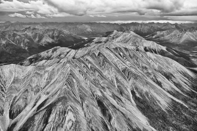 Peel River Watershed aerials - Wind River, Hart River. Yukon Territory, Canada. Stormy weather.