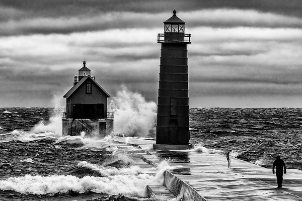 Waves Crash into Grand Haven Pier (B&W)