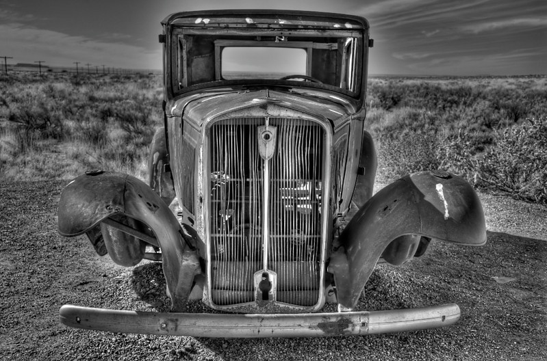 Deserted Car in the Painted Desert, Arizona
