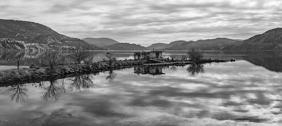 Skaha Fall Reflections Panoramic BW -2