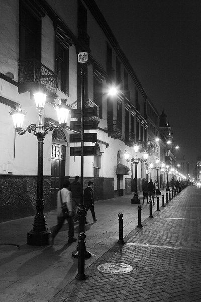 Street at Night Black and White, Lima Peru