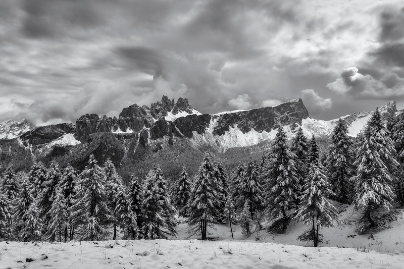 Blizzard coming in over the Dolomites, Italy