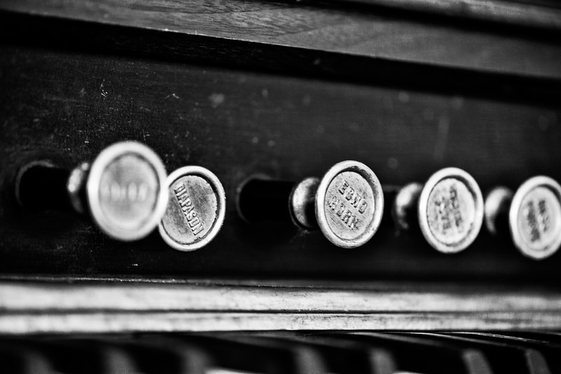 vintage piano in black and white, photographed in fayetteville, nc
