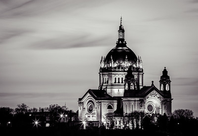 Ominous Cathedral - The Cathedral of Saint Paul looms large across the Mississippi in this black and white rendering