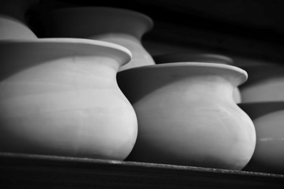 pottery, curves, lines, and shadows