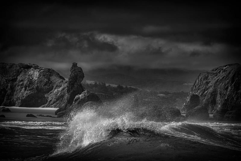 Waves crashing into sea stacks on Bandon Beach, Southern Oregon