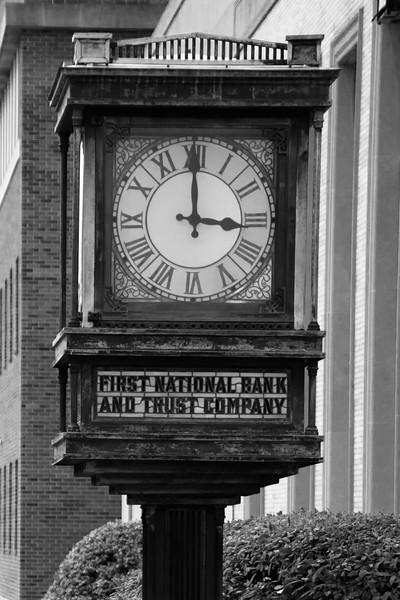 Old bank clock in Newtown, Pennsylvania.