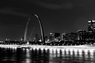 Black and White at Night in St  Louis-1