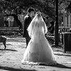 Wedding Couple in Washington Square Park in Autumn