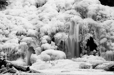 Frozen Details on Cascade Falls in Saco, Maine