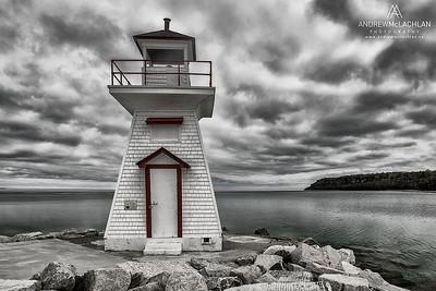 Lion's Head Lighthouse on Georgian Bay on the Niagara Escarpment on the Bruce Peninsula, Ontario, Canada