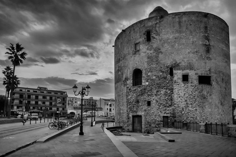 The 14th Century Torre di Sulis in the town of Alghero at dawn, Sardinia, Italy