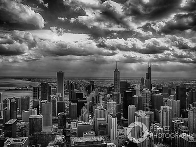 Got a fantastic combination of clouds and sun on my last day in Chicago during a trip for a conference in April. I went to the restaurant at the top of the Hancock building and got this great view.