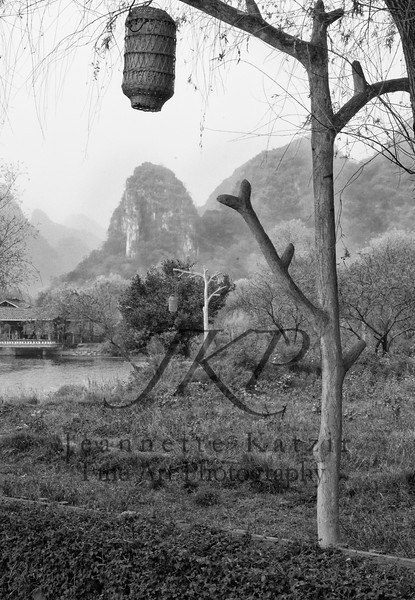 Shangrila China countryside, in black and white