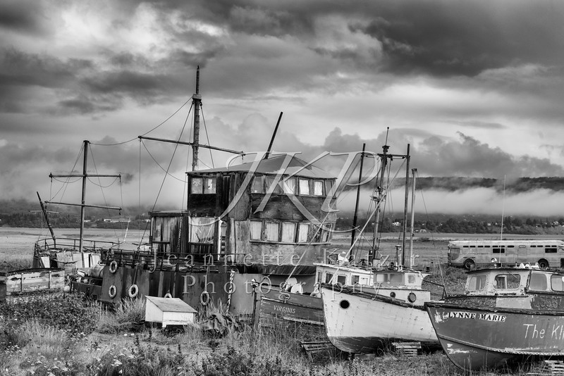 Old ships in a shipyard, in black and white
