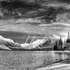Wintertime at McDonald Lake, in black and white
