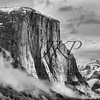 Cloud covered Yosemite El Capitan in black and white