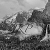 Cloud covered Yosemite Valley with Bridalveil falls, Half Dome in black and white