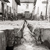 Waterway in Peru town, in black and white